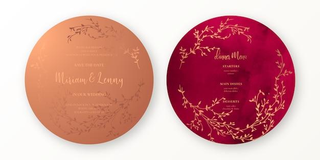 銅と深紅色の結婚式の招待状とメニューテンプレート