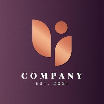 Design moderno dell'icona del logo aziendale in rame