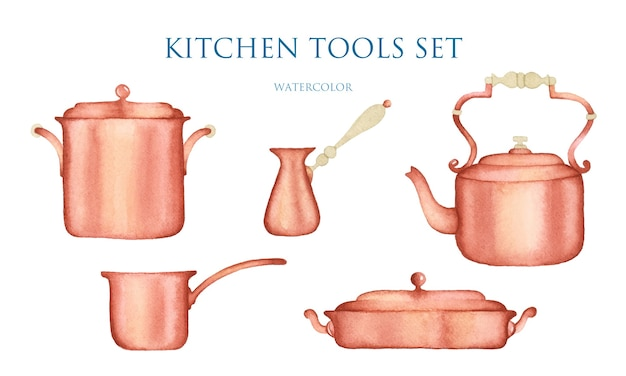 Copper cooking utensils watercolor set isolated elements