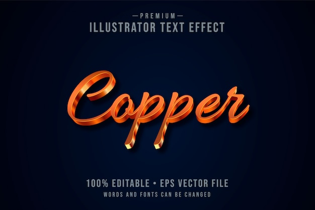 Copper editable 3d text effect or graphic style with metallic gradient