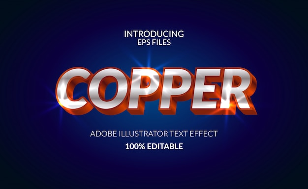 구리 금속 크롬 빛나는 컬러 텍스트 효과. 편집 가능한 텍스트 및 글꼴. 광택있는 빛나는 효과