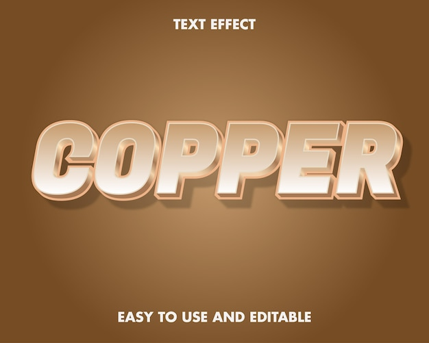 Copper text effect. editable font style.