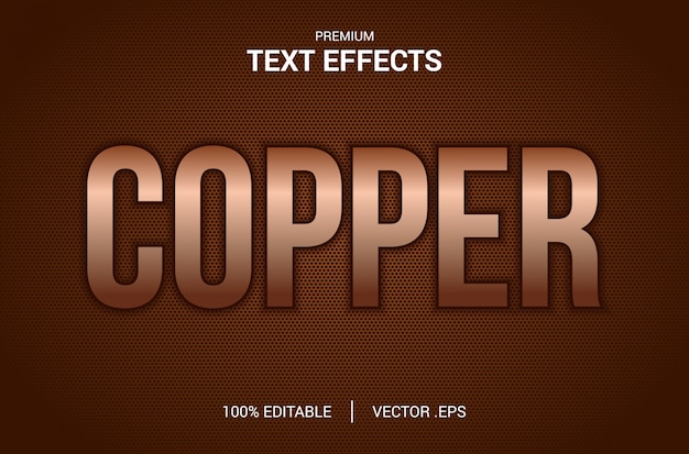 Медный текстовый эффект, набор элегантный абстрактный медный текстовый эффект, медный текстовый стиль, редактируемый эффект шрифта