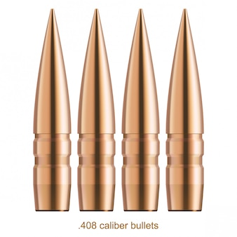 Coppered bullets with gloss effect. Isolated on white