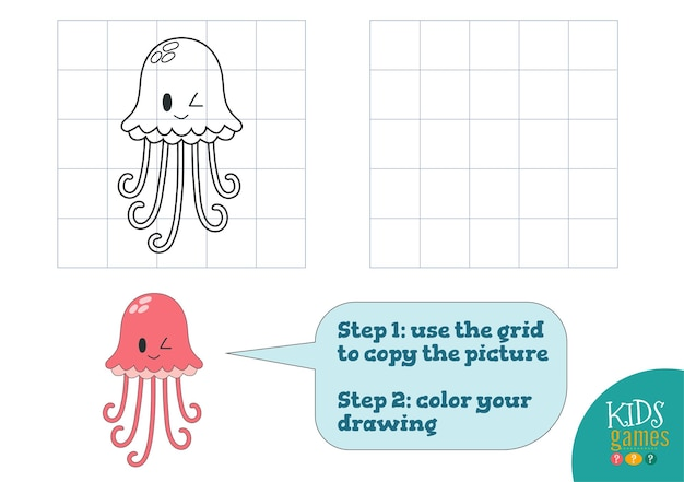 복사 및 색칠 그림 그림 운동 미취학 아동을위한 미니 게임을 그리고 색칠하는 방법에 대한 재미있는 만화 핑크 해파리
