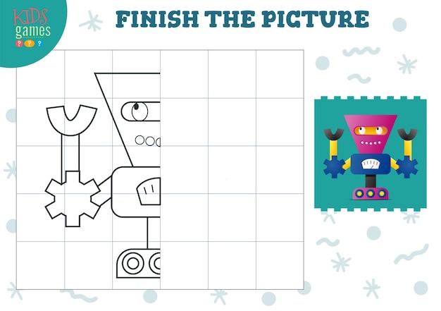 Скопируйте и заполните изображение векторной пустой игры, иллюстрации. деятельность детей дошкольного возраста или упражнения для обучения и образования с мультяшным милым роботом