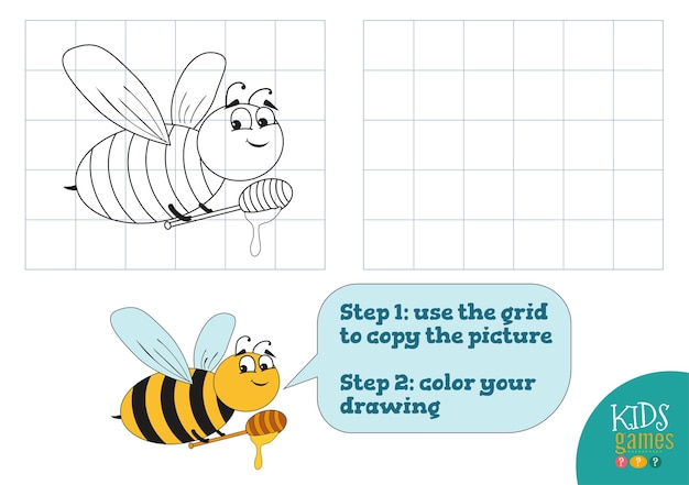 Copy and color picture, exercise. funny bee cartoon character for drawing and coloring game for preschool kids