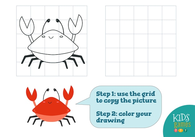Copy and color picture   illustration exercise funny cartoon red crab for how to draw and color mini game for preschool kids