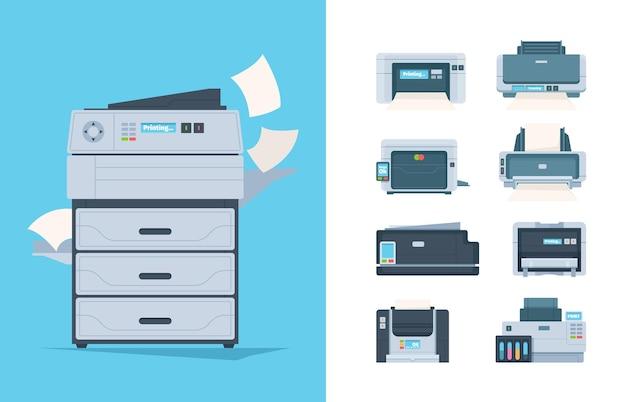コピー機。異なるプリンタセット