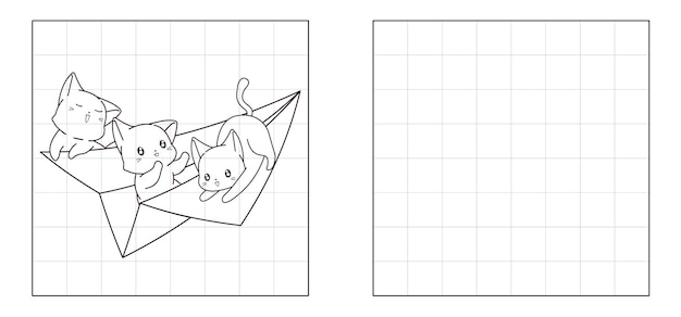 Copy the picture of 3 cats on paper plane cartoon