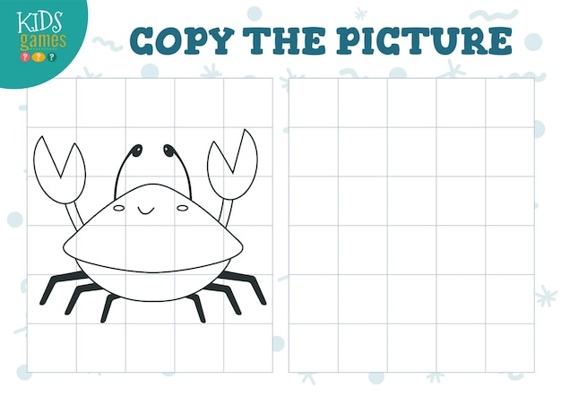 Скопируйте изображение по сетке векторные иллюстрации развивающая мини-игра-головоломка для детей дошкольного возраста мультфильм контурный краб для упражнений по рисованию