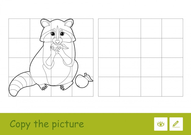 Copy the picture by squares and color it quiz learning children game with simple contour illustration of eating an apple raccoon for the youngest children. fun and learning of wild animals for kids.