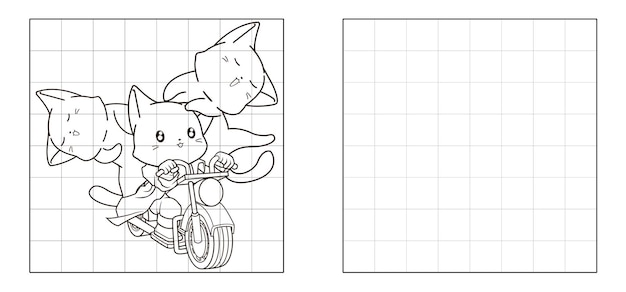 Copy the picture of cats are riding motorcycle cartoon