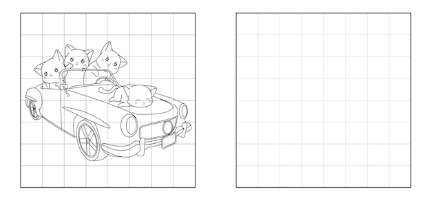 Copy the picture of cats with a car cartoon