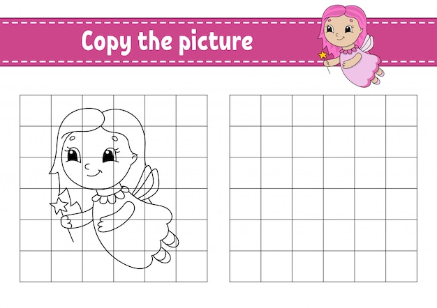 Copy the picture. coloring book pages for kids. education developing worksheet. game for children. handwriting practice. funny character. cute cartoon  illustration.