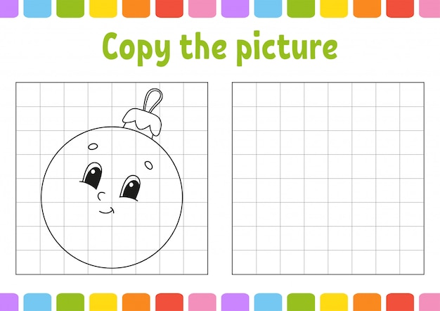 Copy the picture. coloring book pages for kids. education developing worksheet. game for children. handwriting practice.