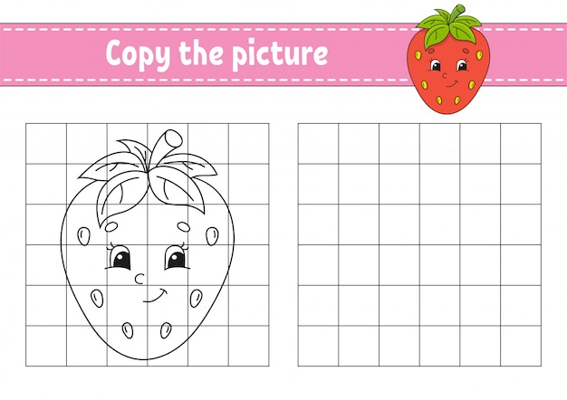 Copy the picture, coloring book pages for kids,