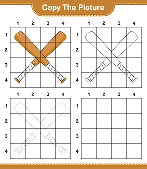 Copy the picture copy the picture of baseball bat using grid lines educational children game