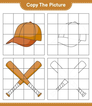 Copy the picture, copy the picture of cap hat and baseball bat using grid lines. educational children game, printable worksheet, vector illustration