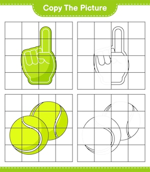 Copy the picture, copy the picture of foam finger and tennis ball using grid lines. educational children game, printable worksheet, vector illustration