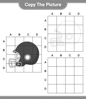 Copy the picture copy the picture of football helmet using grid lines educational children game