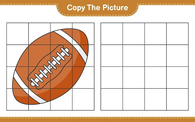 Copy the picture copy the picture of rugby ball using grid lines educational children game