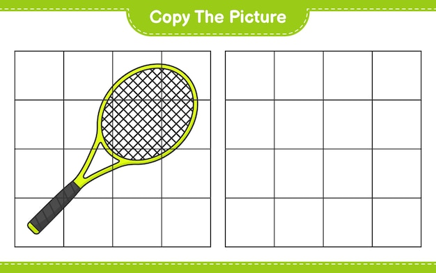 Copy the picture copy the picture of tennis racket using grid lines educational children game