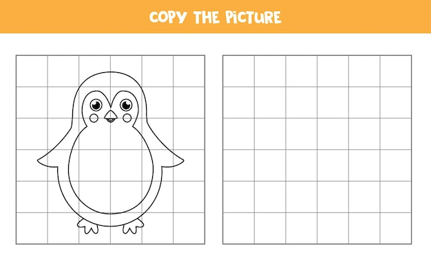 Copy the picture of cute penguin educational game for kids handwriting practice