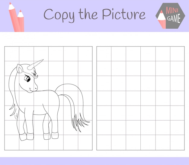 Copy the picture: cute unicorn