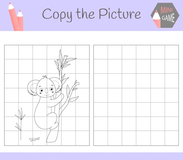 Copy the picture: dear kuala. coloring book. educational game for children. ,