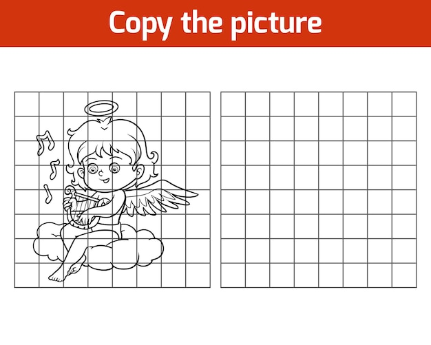 Copy the picture, education game for children, angel