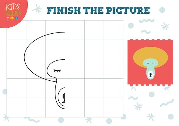 그림 그림을 복사하십시오. 미취학 아동과 학교 아이들을위한 완벽한 색칠 게임. 그리기 및 교육 활동을위한 귀여운 원숭이 개요