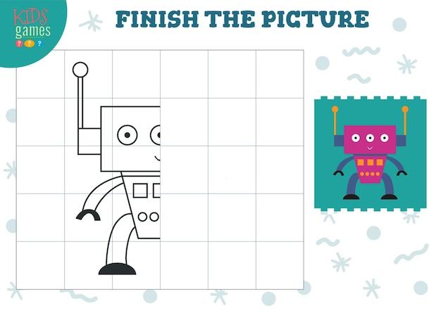 絵のイラストをコピーする就学前と学校の子供のための完全な着色ゲーム