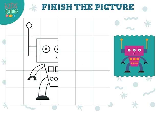 Copy picture   illustration complete and coloring game for preschool and school kids
