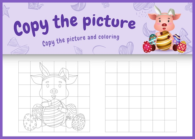 Copy the picture kids game and coloring page themed easter with a cute pig using bunny ears headbands hugging eggs