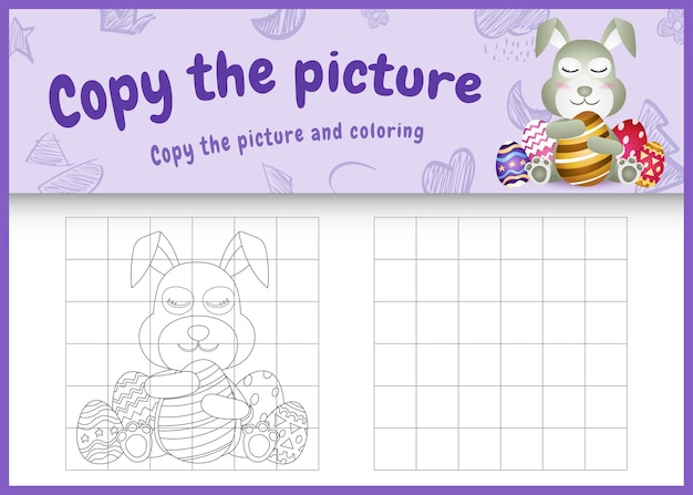 Copy the picture kids game and coloring page themed easter with a cute rabbit using bunny ears headbands hugging eggs