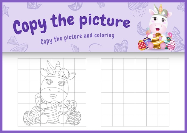 Copy the picture kids game and coloring page themed easter with a cute unicorn using bunny ears headbands hugging eggs