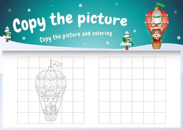 Copy the picture kids game and coloring page with a cute buffalo on hot air balloon