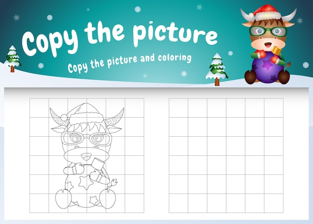 Copy the picture kids game and coloring page with a cute buffalo hug ball