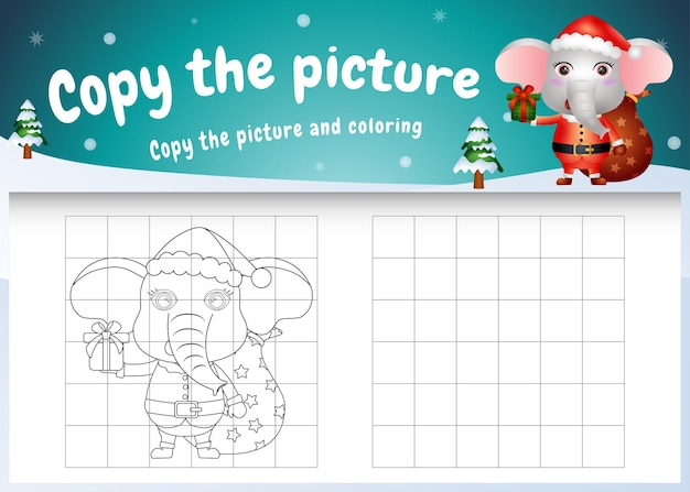 Copy the picture kids game and coloring page with a cute elephant using santa costume