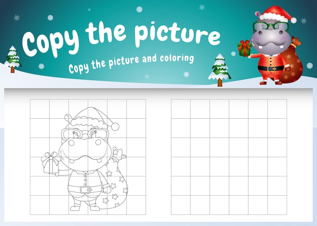 Copy the picture kids game and coloring page with a cute hippo using santa costume