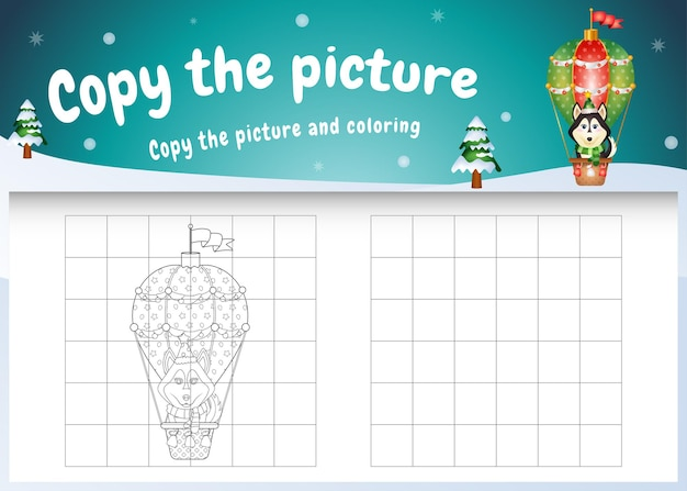 Copy the picture kids game and coloring page with a cute husky on hot air balloon