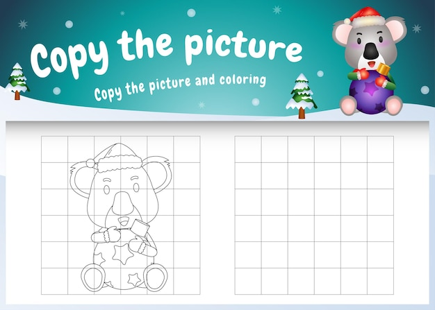 Copy the picture kids game and coloring page with a cute koala hug ball