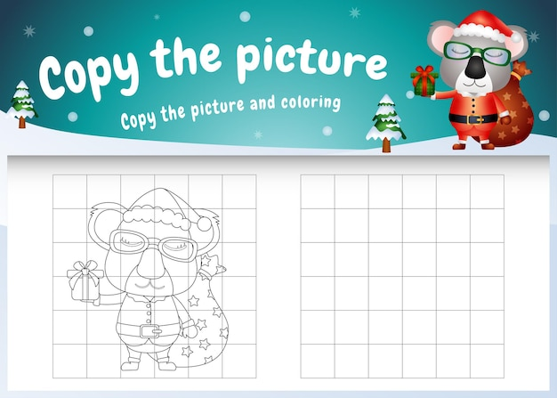 Copy the picture kids game and coloring page with a cute koala using santa costume