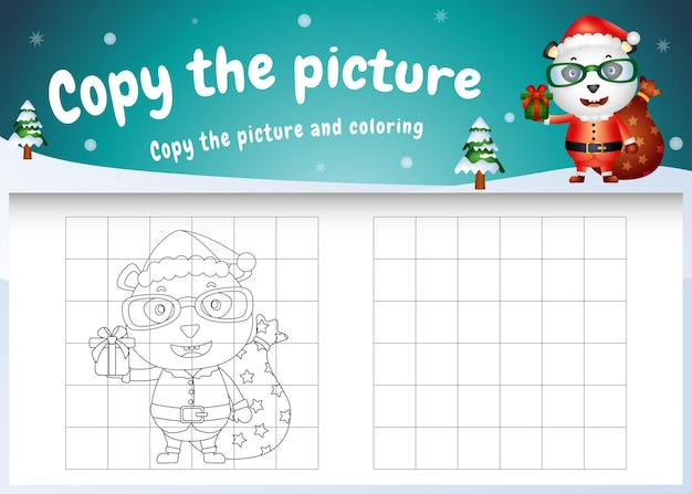 Copy the picture kids game and coloring page with a cute panda using santa costume
