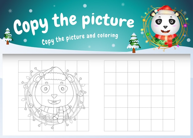 Copy the picture kids game and coloring page with a cute panda