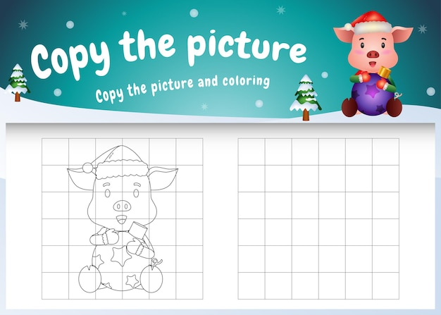 Copy the picture kids game and coloring page with a cute pig hug ball