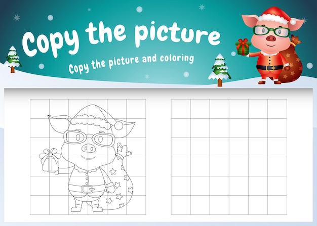 Copy the picture kids game and coloring page with a cute pig using santa costume