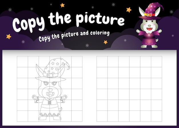 Copy the picture kids game and coloring page with a cute rabbit using halloween costume
