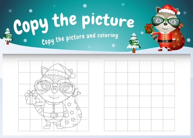 Copy the picture kids game and coloring page with a cute raccoon using santa costume